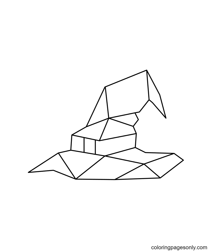 Geometric Witch Hat Coloring Page