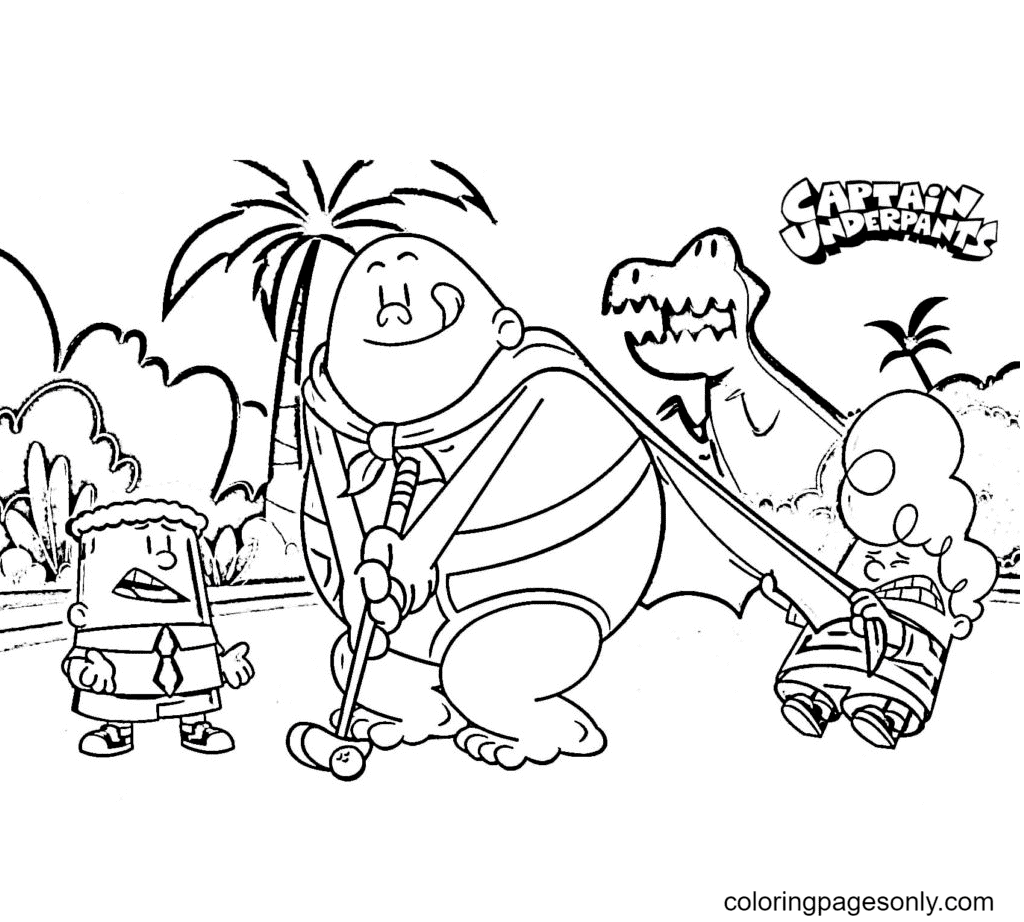 George and Harold stop Captain Underpants from golfing Coloring Page