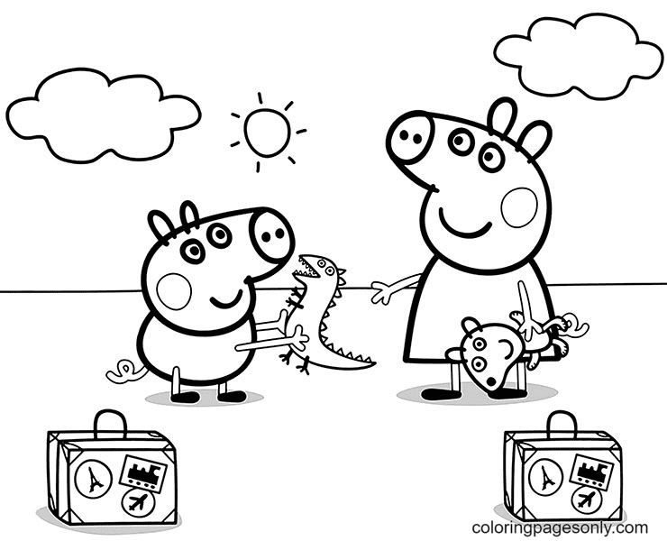 George and Peppa Pig Holding Their Toys Coloring Page