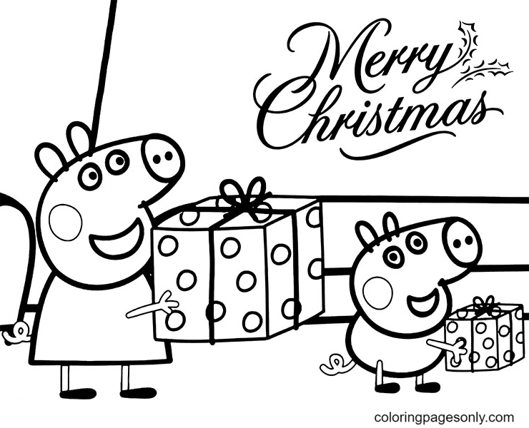 George and Peppa Pig Receive Christmas Presents Coloring Page
