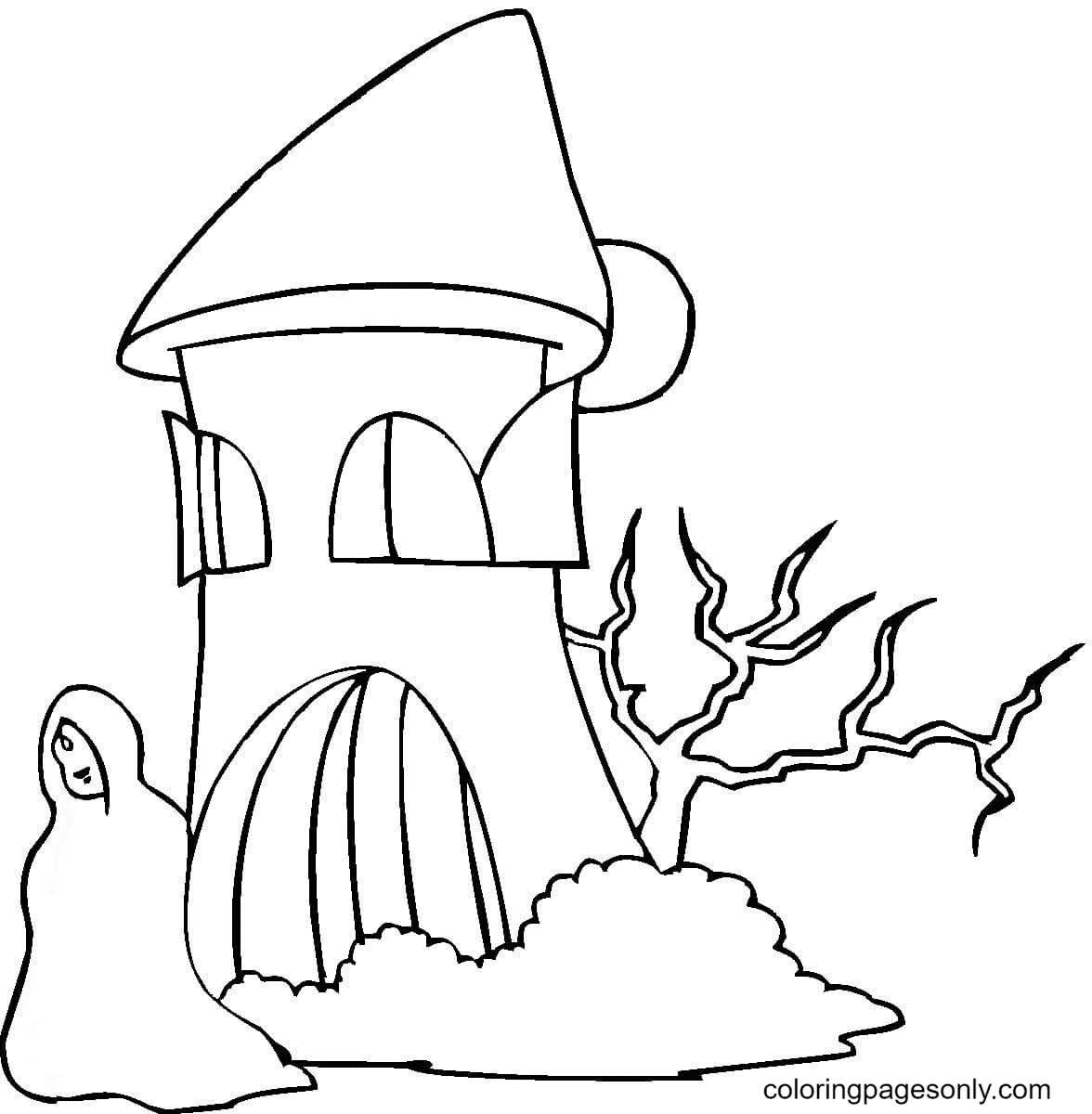 Ghost Near House Coloring Page