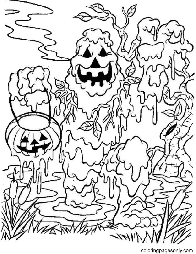 Ghost Pumpkin Lamp Coloring Page