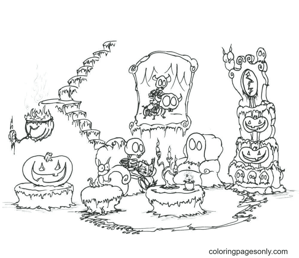 Ghost Reading Time Coloring Page