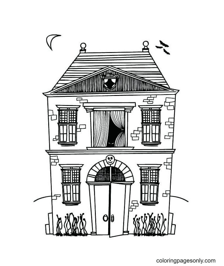 Ghost Themed Hotel Coloring Page