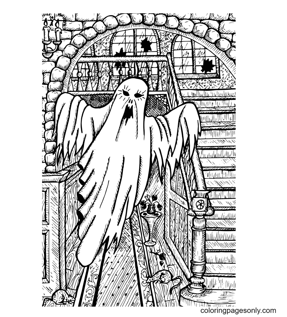 Ghost in a Haunted House Coloring Page