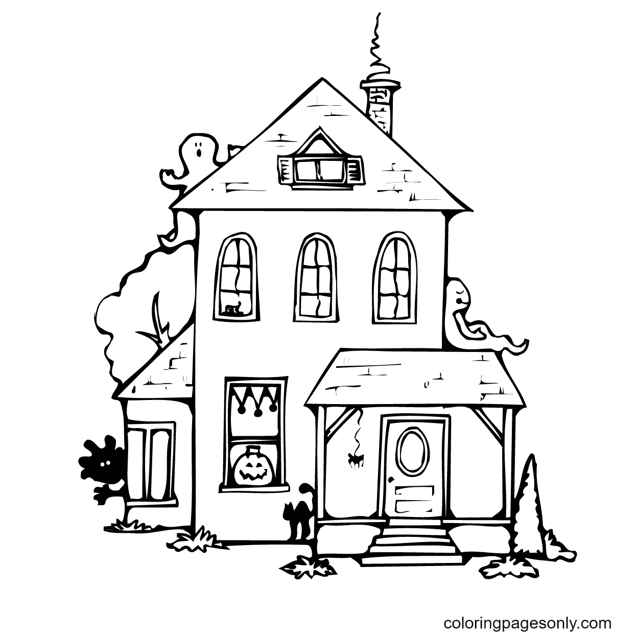 Ghosts Around the House Coloring Page
