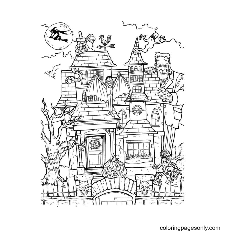 Ghosts, Monsters, Mummy, Witches gather in a Castle Coloring Page