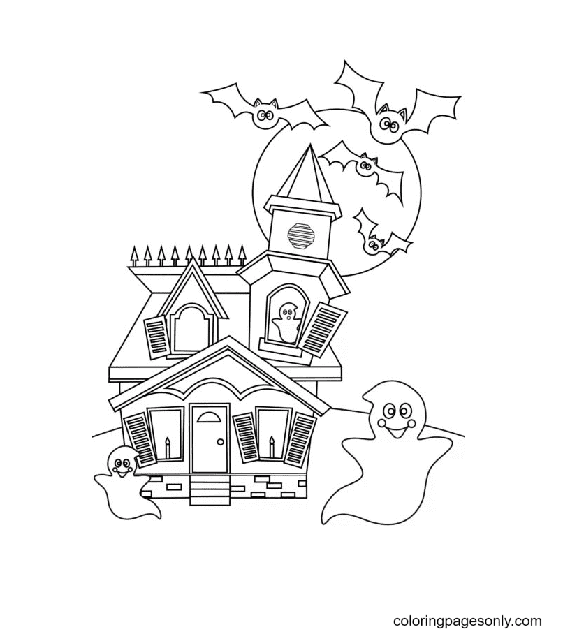 Ghosts and Bats Fly from Haunted House Coloring Page