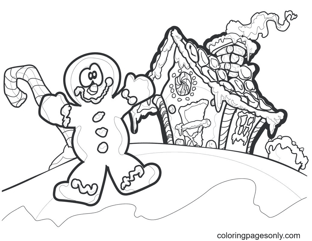 Gingerbread Man And Gingerbread House Coloring Page