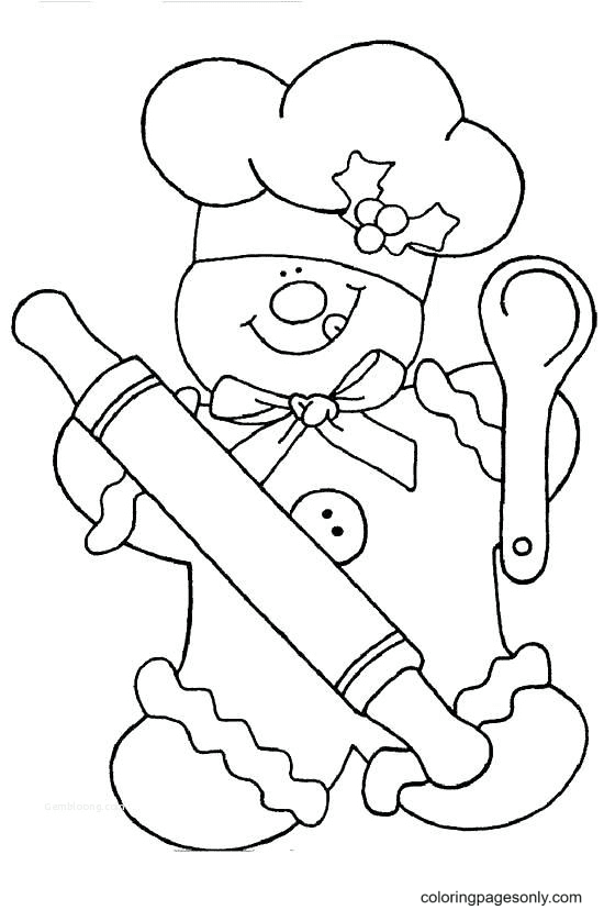 Gingerbread Man Chef Coloring Page