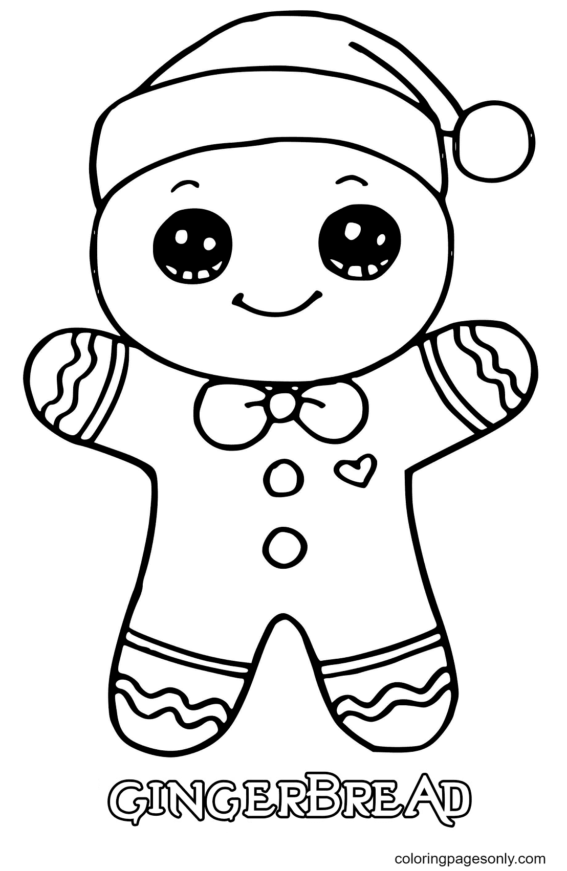Gingerbread Man Christmas Coloring Page