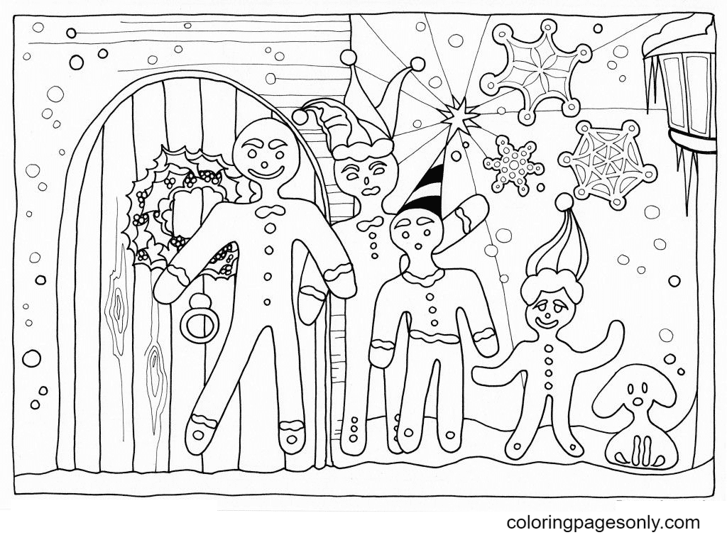 Gingerbread Man Family Coloring Page