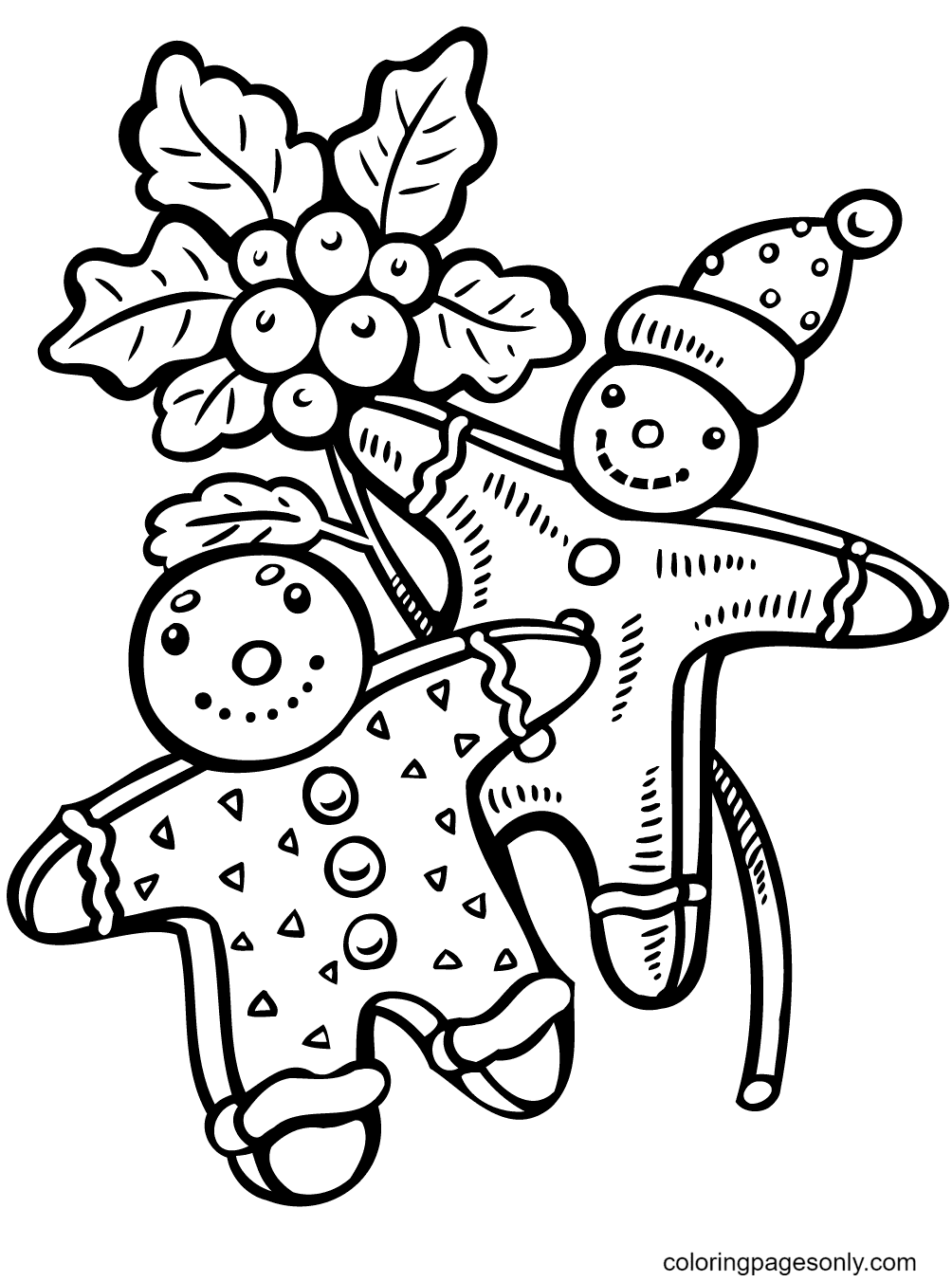 Gingerbread Man In Christmas Day Coloring Page