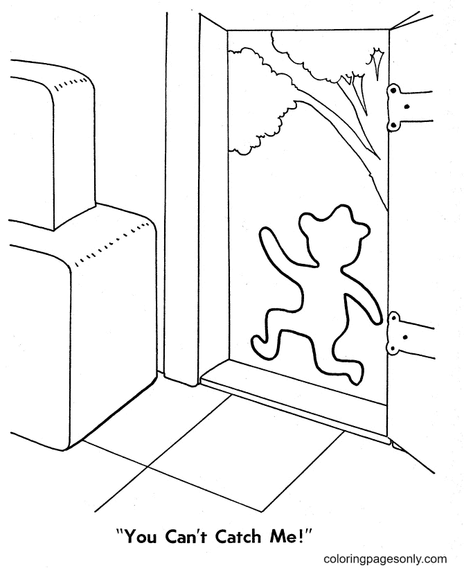 Gingerbread Man Running Away Coloring Page