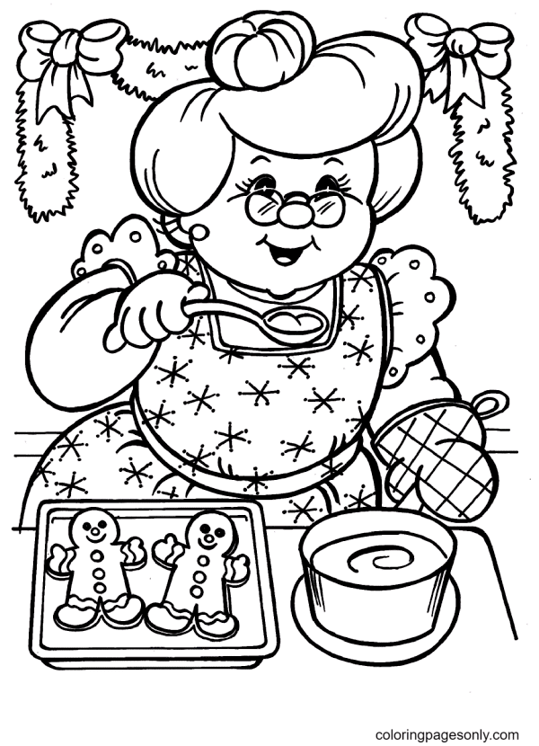 Gingerbread Man and the Old Woman Coloring Page