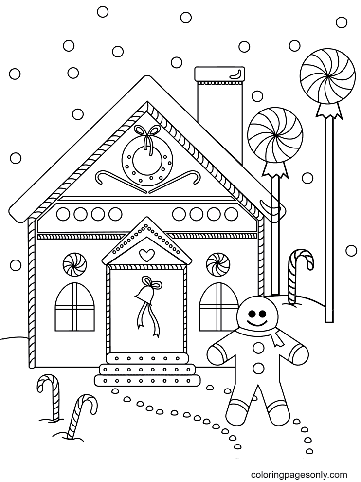 Gingerbread Man near the House Coloring Page
