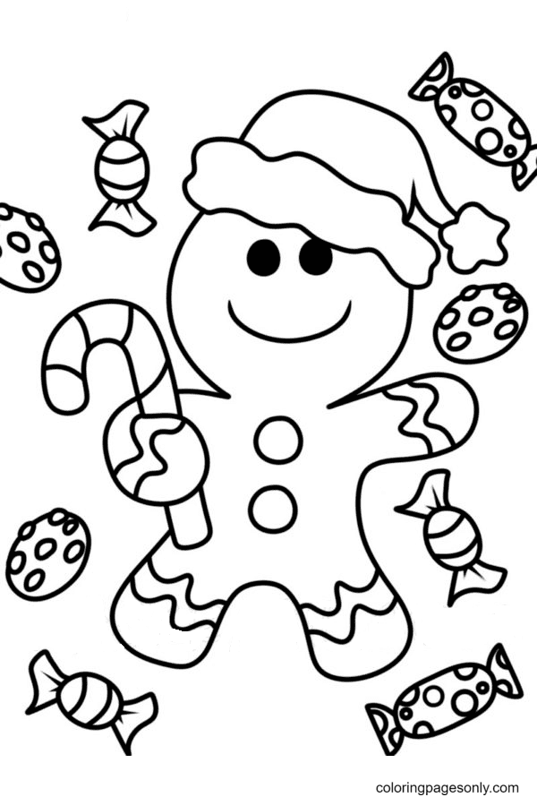 Gingerbread Man with Candies Coloring Page
