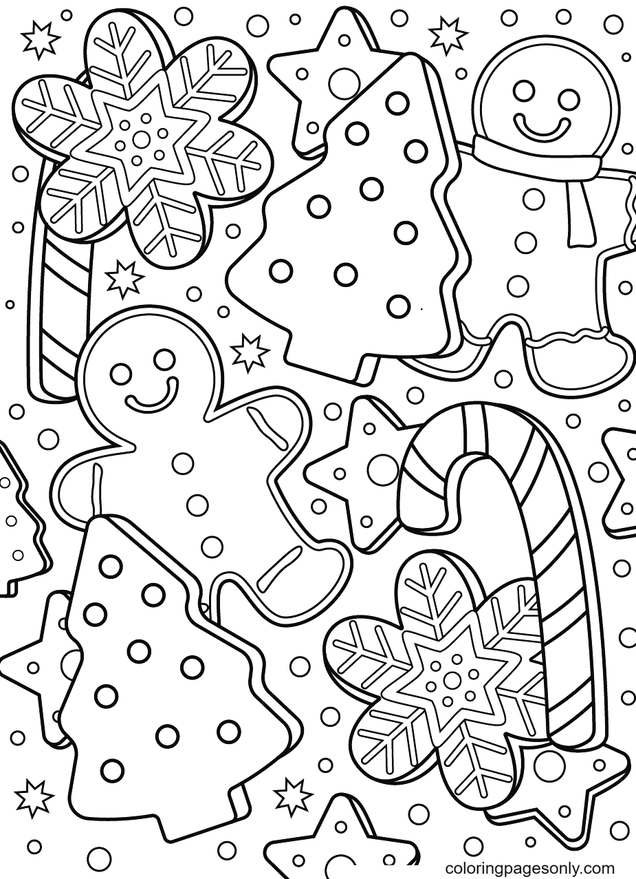 Gingerbread Man with Candy Canes, Flowers and Stars Coloring Page