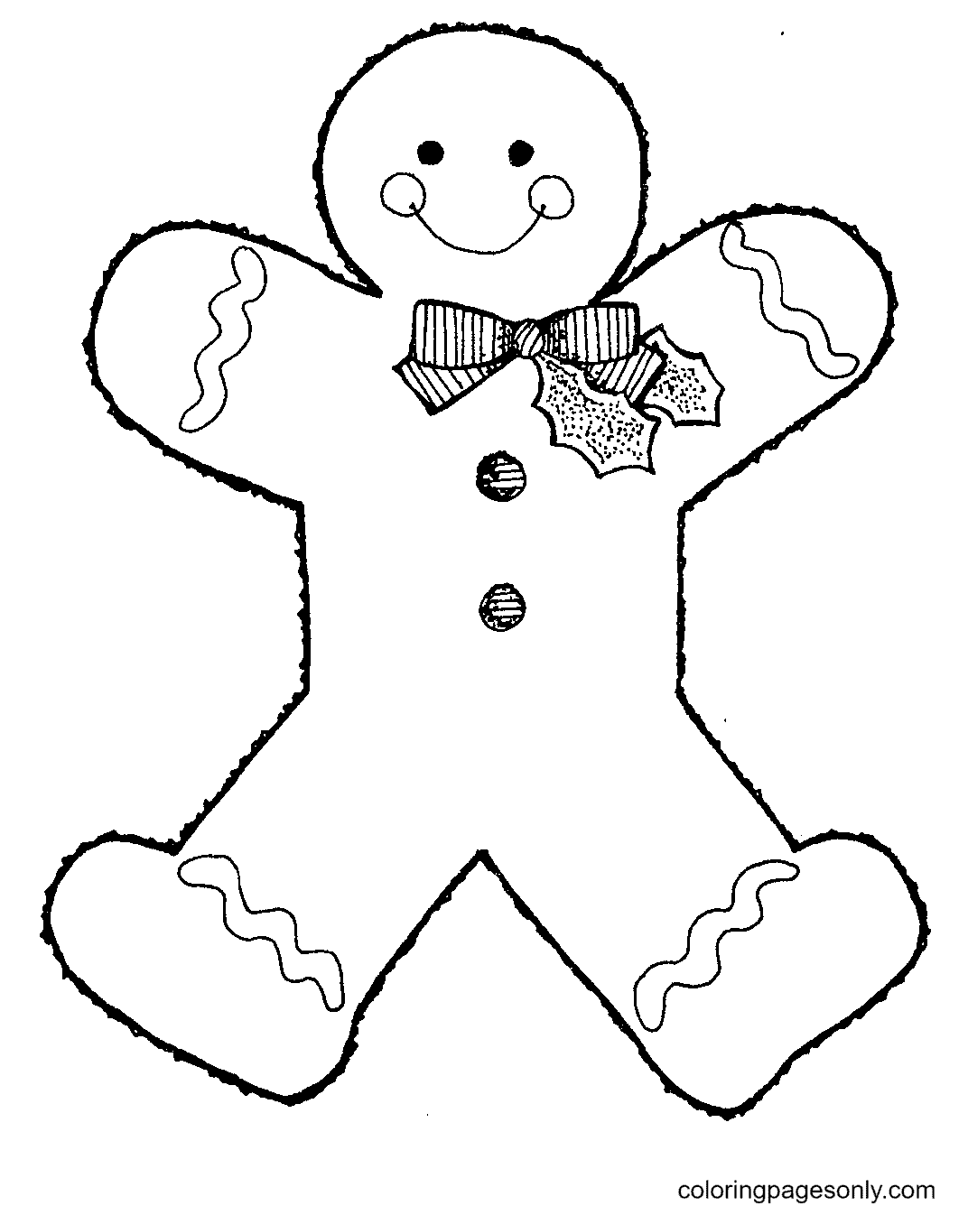 Gingerbread Man with Cute Bow Coloring Page