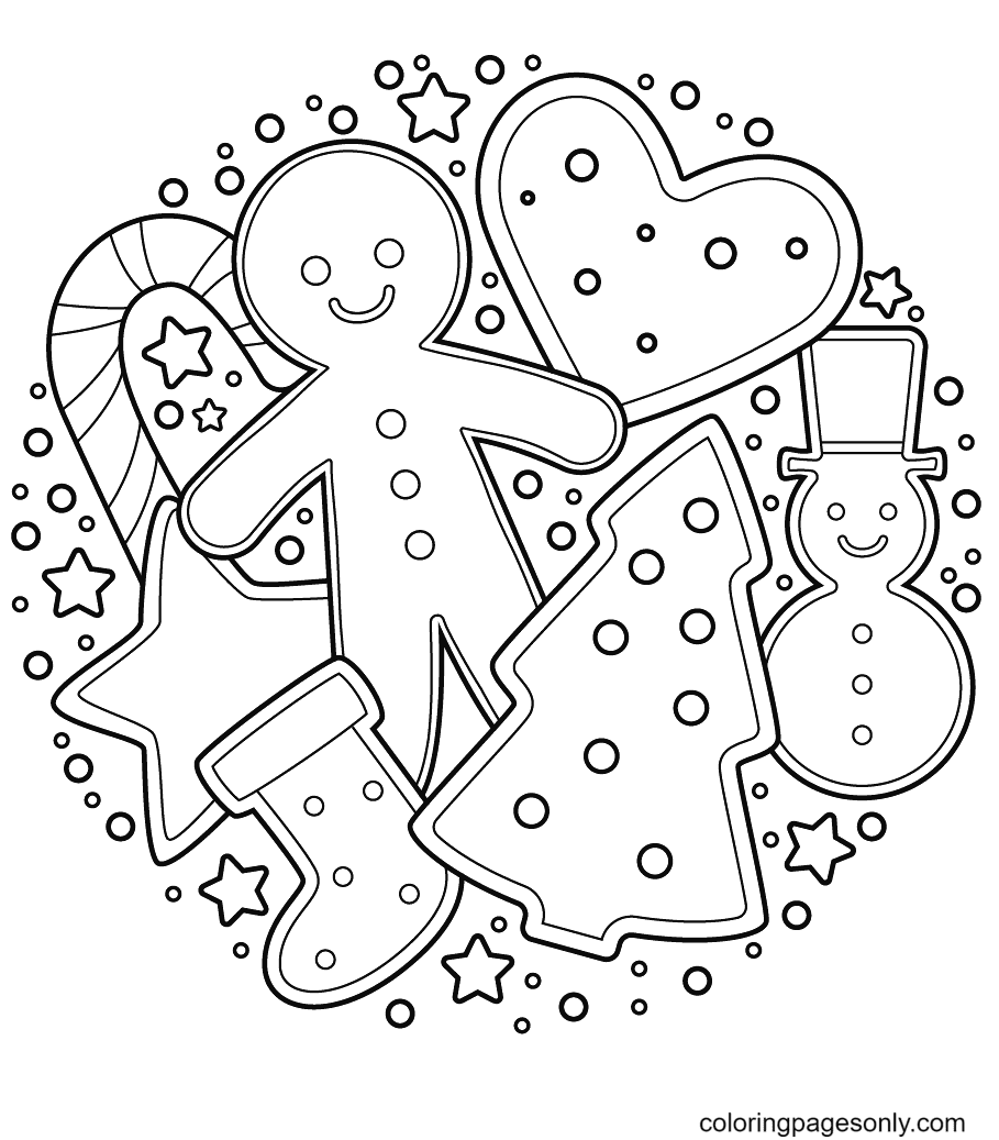 Gingerbread Man with Tree, Sock, Candy Cane, Star, Heart, Snow man Coloring Page