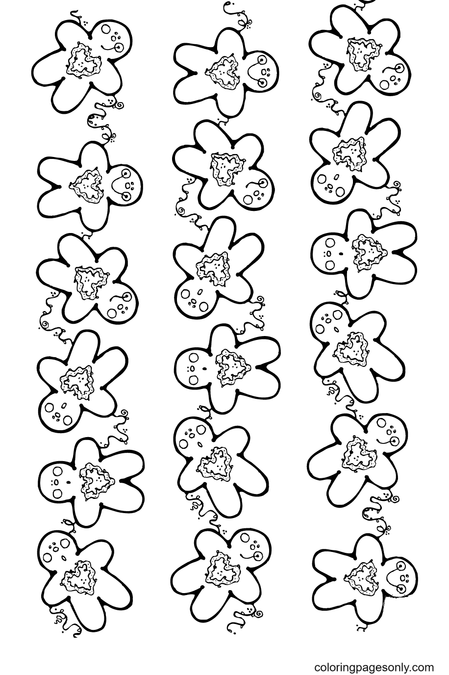 Gingerbread Pattern Coloring Page