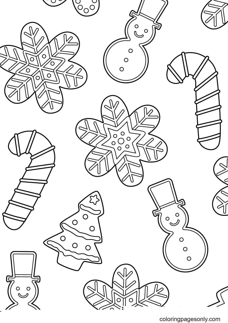 Gingerbread Snowmen with Candy Canes, Snowflakes and Trees Coloring Page