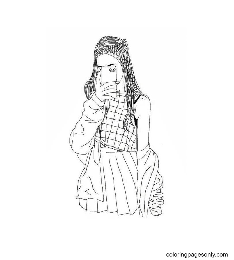 Girl Aesthetic Drawings Coloring Page