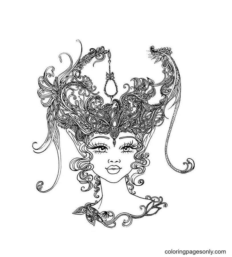 Girl Aesthetic Free Coloring Page
