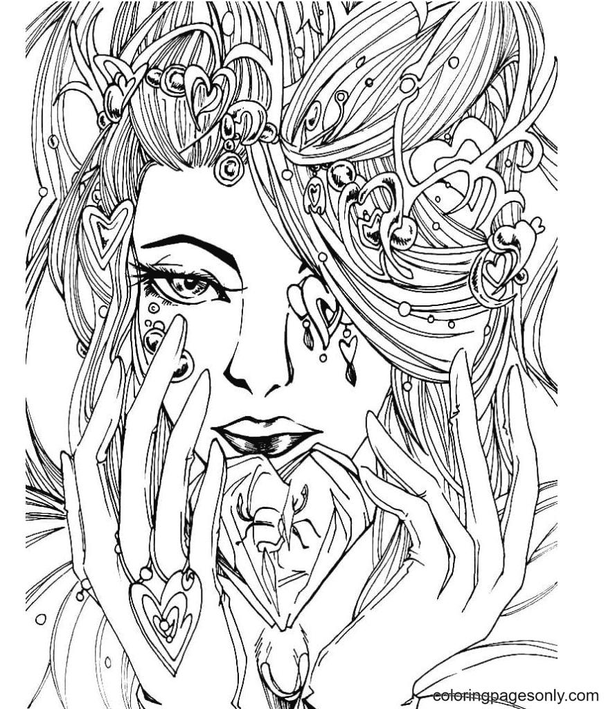 Girl Aesthetics Printable Coloring Page