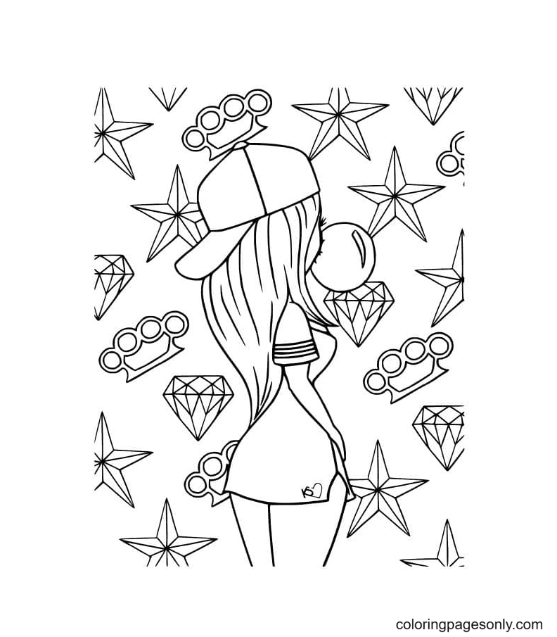 Girl Aesthetics Coloring Page