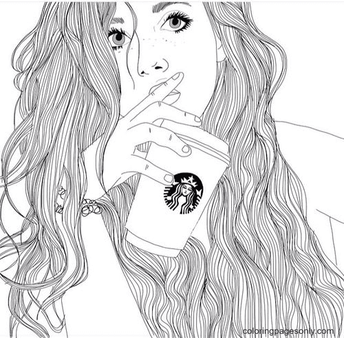 Girl And Starbucks Coloring Page