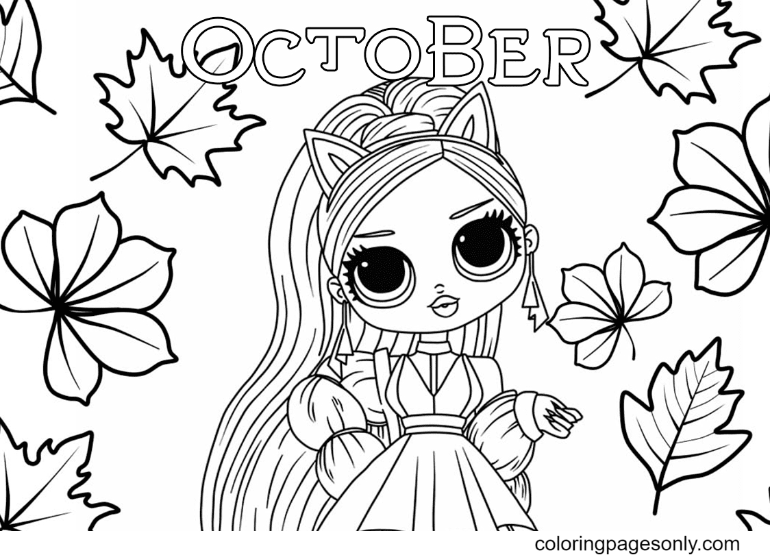 Girl Beautiful in the Fall Coloring Page