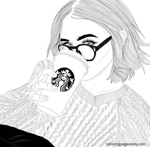 Girl Drinking Starbucks Coffee Coloring Page