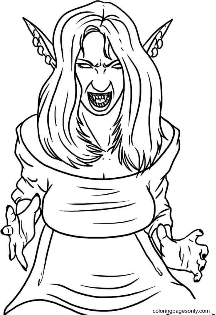 Girl Vampire Coloring Page