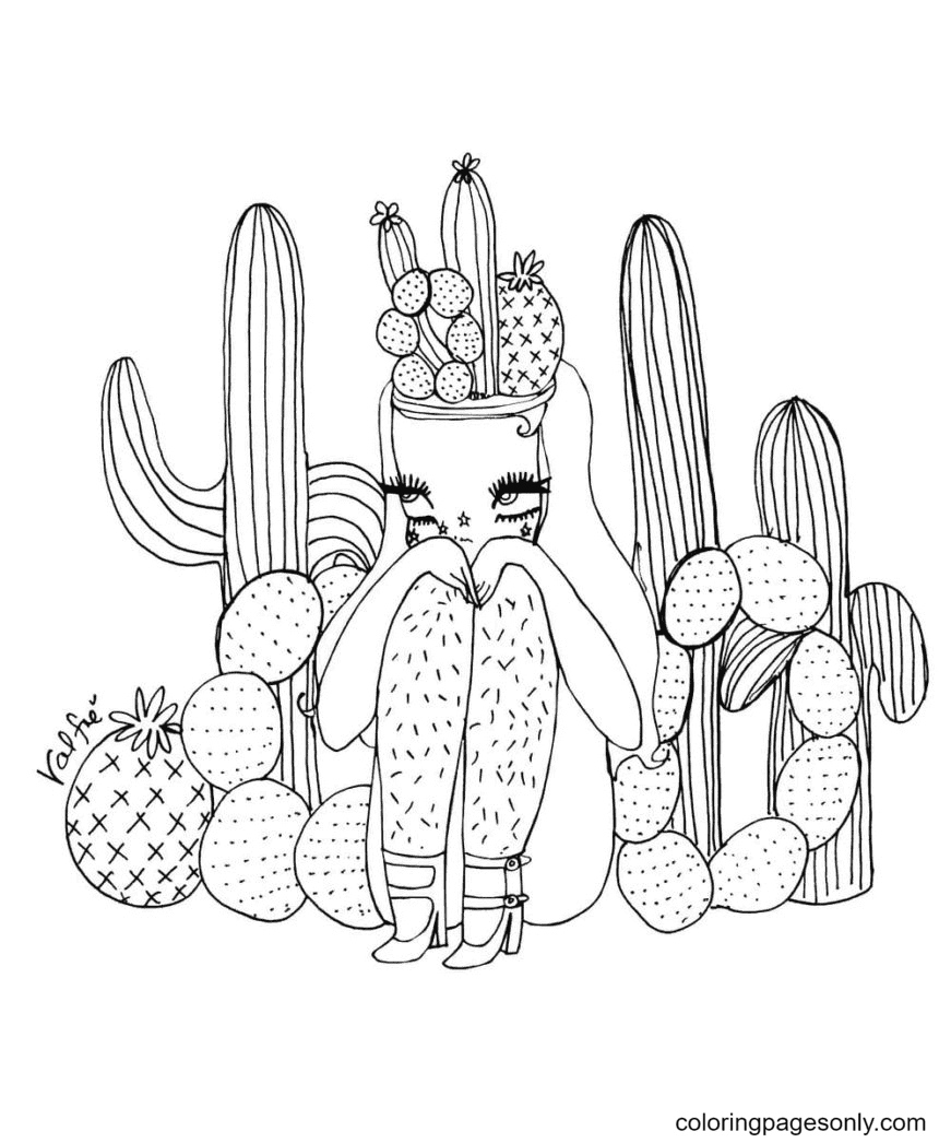 Girl and Cactus Aestheics Coloring Page
