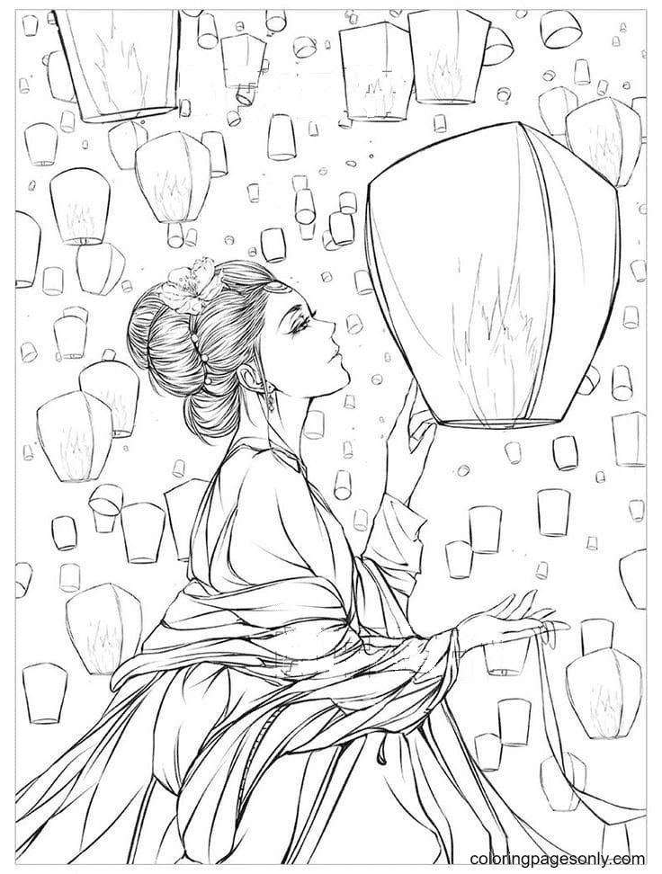 Girl and Lanterns Coloring Page