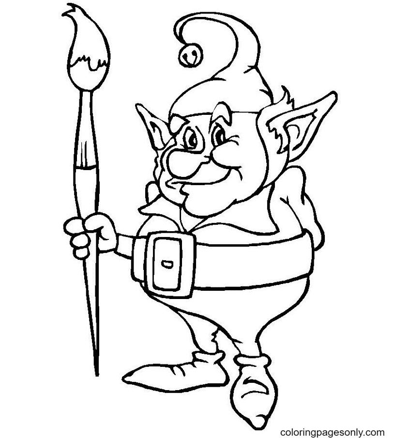 Goblin with a Paintbrush Coloring Page