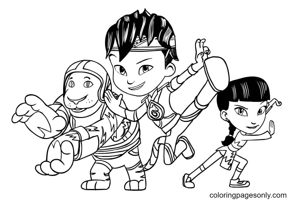 Goji and Kody with Mei Coloring Page
