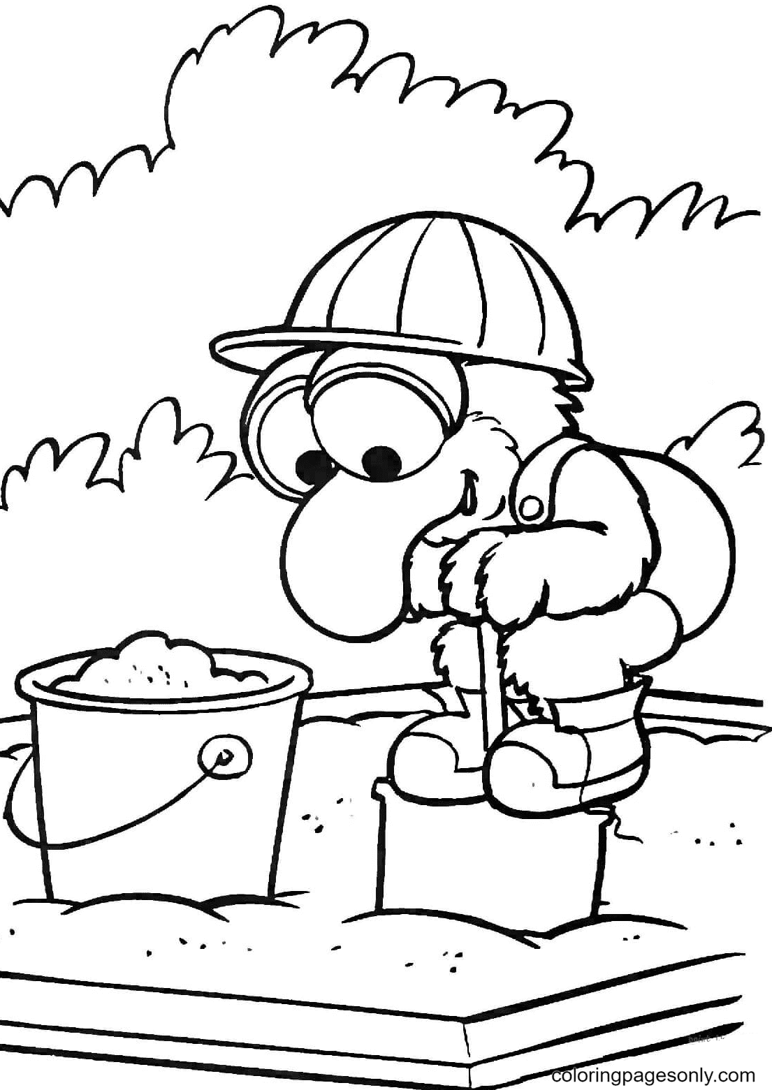 Gonzo Is Playing on a Sandbox Coloring Page