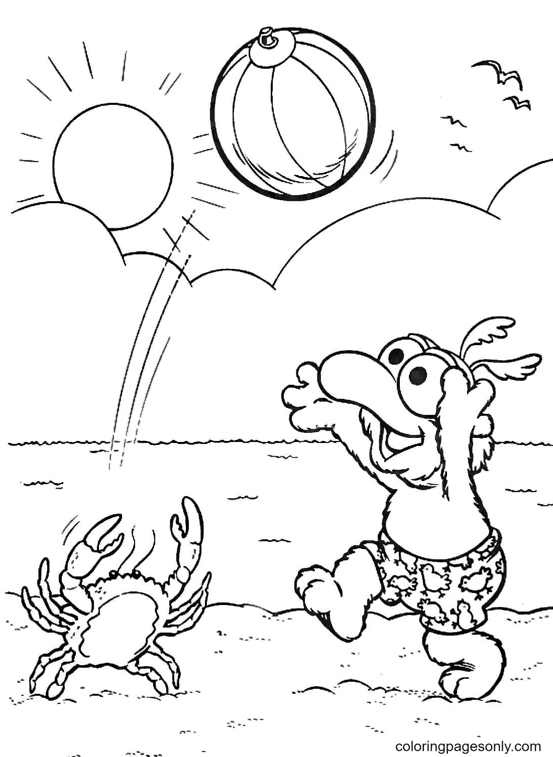 Gonzo Playing Volleyball with Crab Coloring Page
