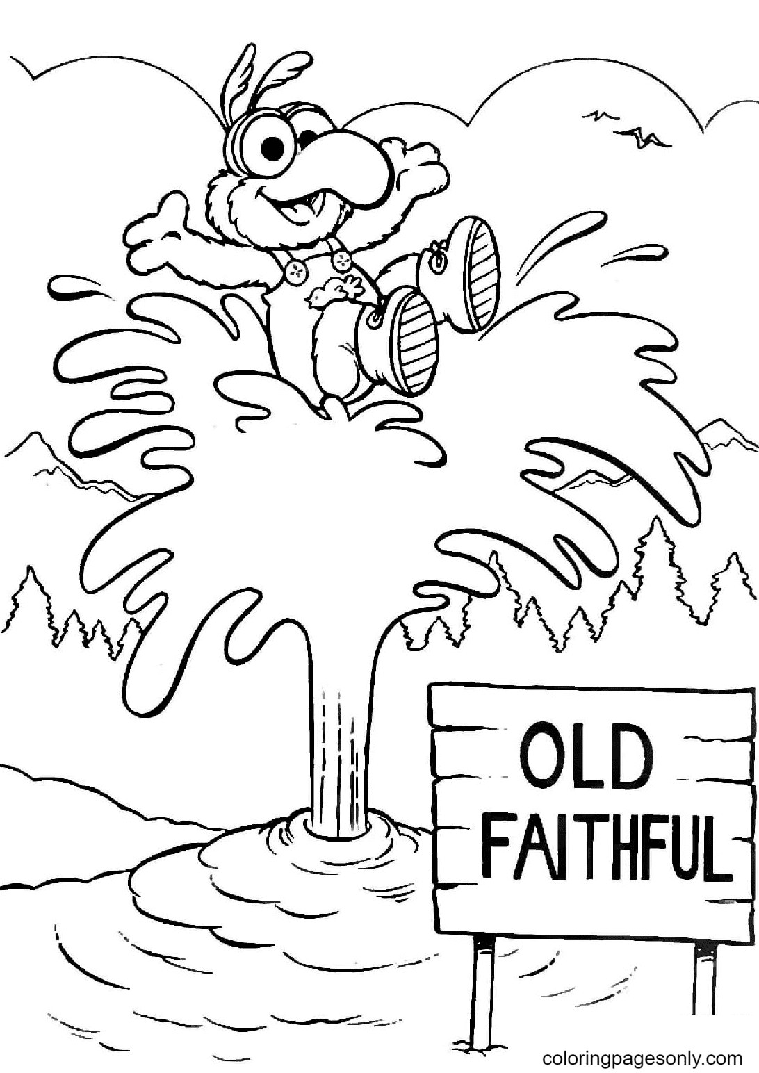 Gonzo at Old Faithful geyser in Yellowstone Coloring Page