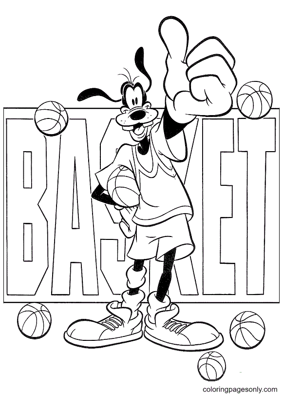 Goofy Playing Basketball Coloring Page