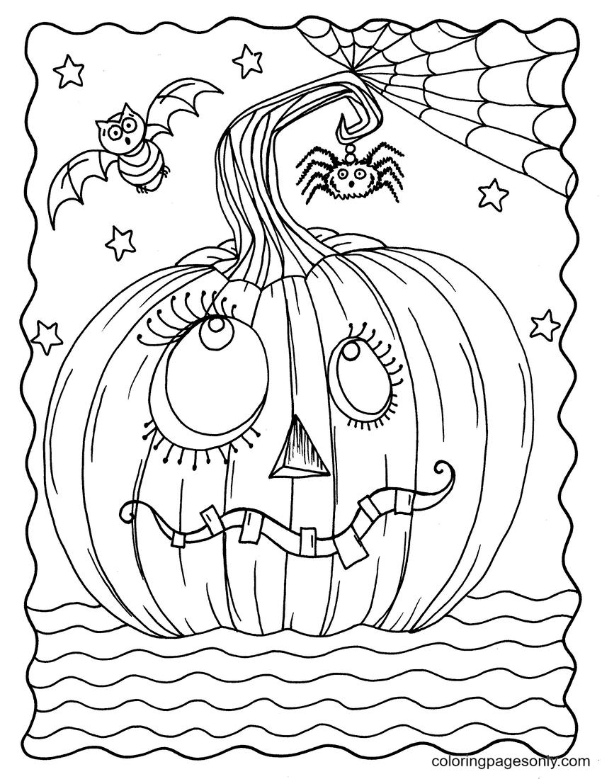 Goofy Pumpkin Coloring Page