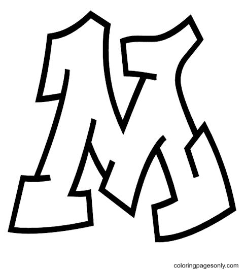 Grafitti Letter M Coloring Page