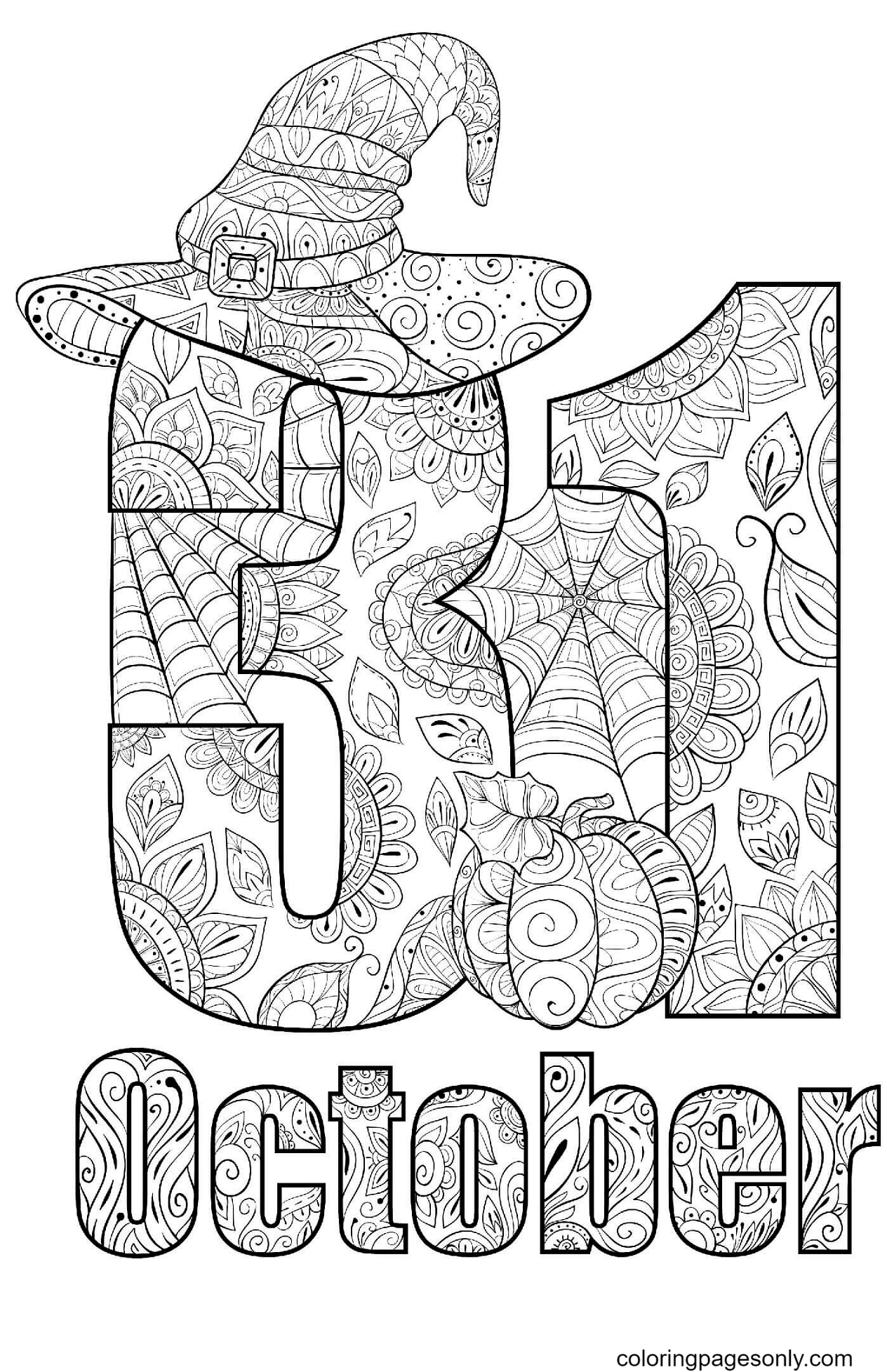 Halloween 31 October Coloring Page