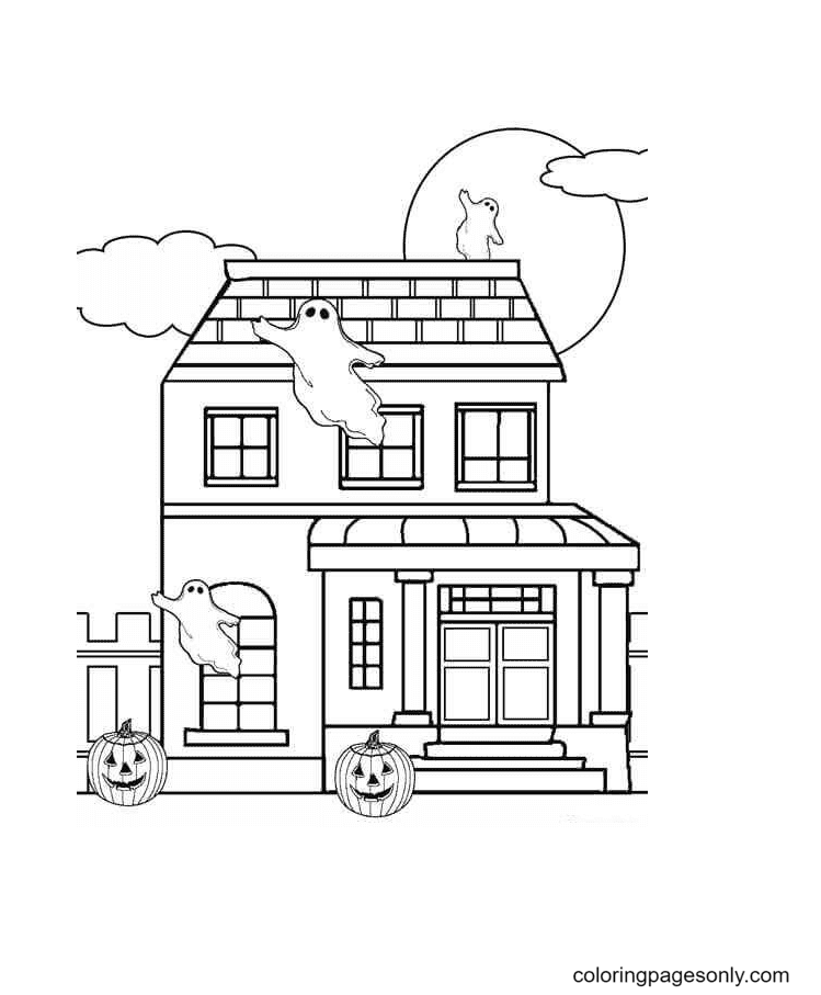 Halloween And Haunted House Coloring Page