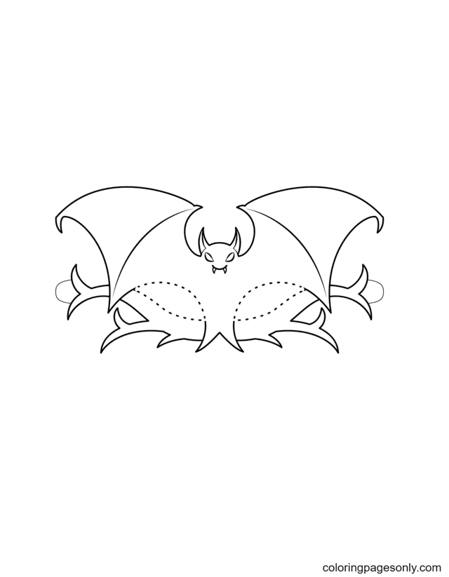 Halloween Bat Mask Coloring Page