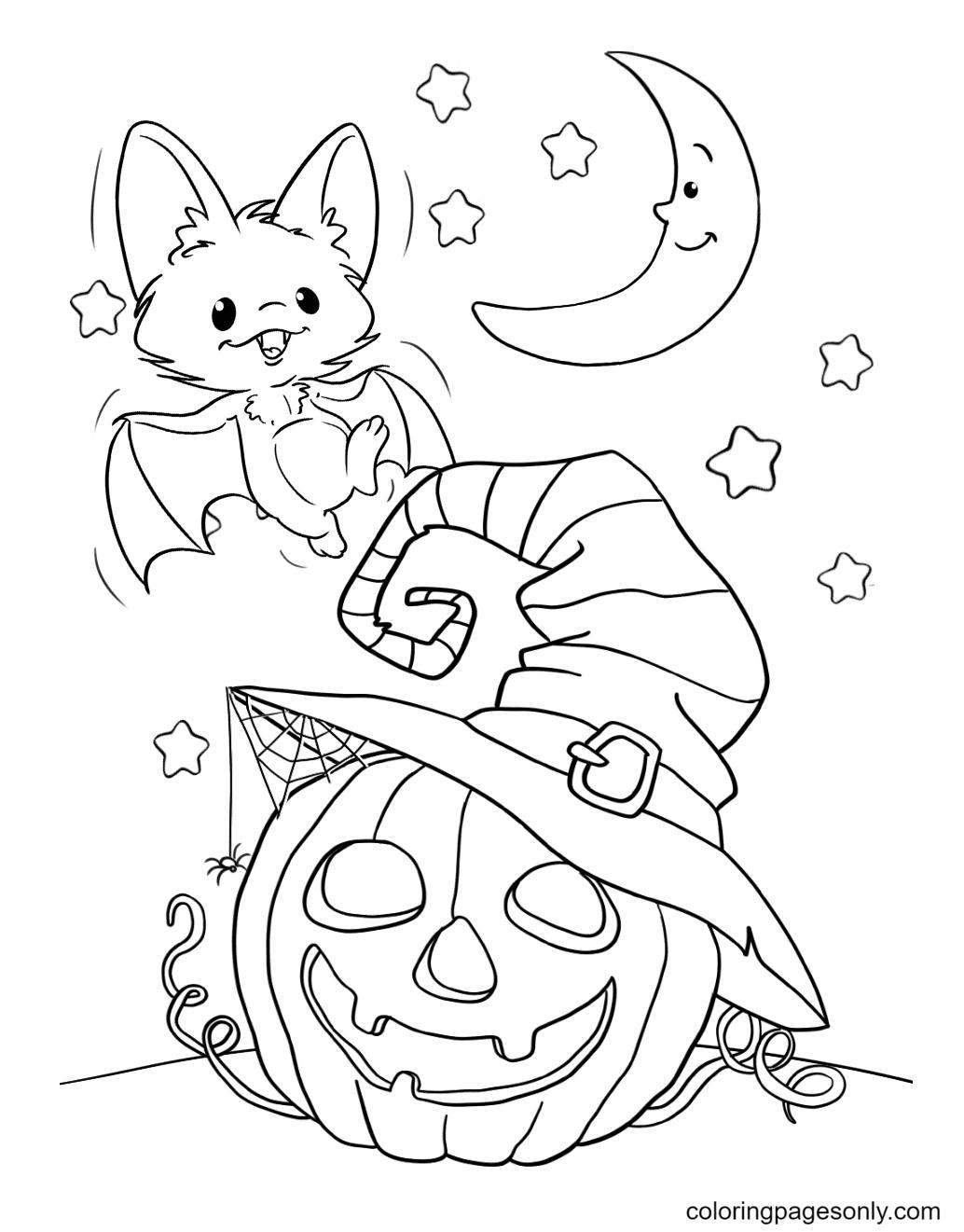 Halloween Bat and Pumpkin Lights Coloring Page