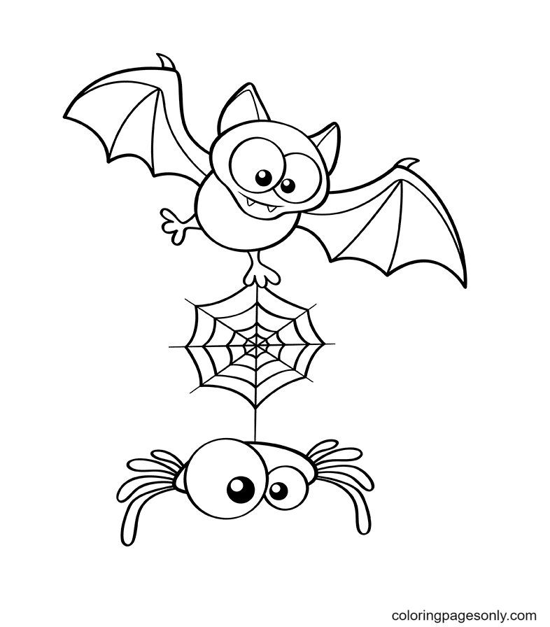 Halloween Bat and Spider Coloring Page