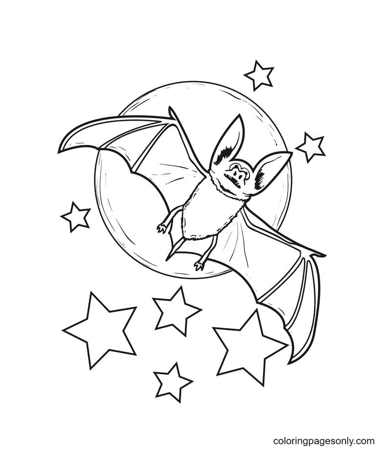 Halloween Bat and Stars Coloring Page